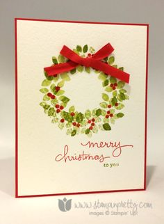 Stampin up stamping pretty demonstrator blog holiday catalog idea wonderful wondrous wreath card