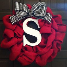 red burlap wreath
