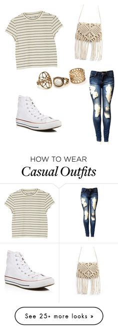"""casual"" by trinity-cassady on Polyvore featuring Monki and Converse"