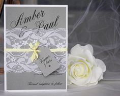 These grey and yellow lace wedding invitations from always, by amber make the prettiest color combo!