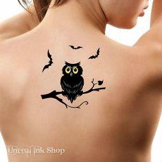 Halloween Temporary Tattoo 1 Owl and Bats Tattoos by UnrealInkShop