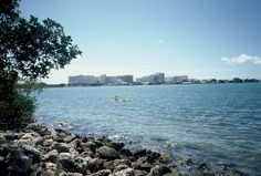 View of #BiscayneBay and visitor #kayaking from the park's rocky shoreline. #OletaRiverStatePark #Miami