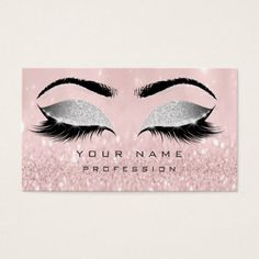 Makeup Eyebrows Lashes Extension Pink Glitter Business Card - blush pink gifts unique special diy custom