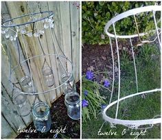 How to make a mason jar chandelier tutorial. Charming votive style chandelier using lamp shade, chain, mason jars, and candles. Mason Jars, Canning Jars, Bottles And Jars, Glass Jars, Mason Jar Chandelier, Outdoor Chandelier, Jar Lamp, Mason Jar Projects, Mason Jar Crafts