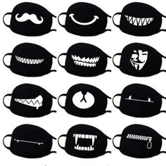 Mask Mouth Medical Masks Black Cotton Mask Face Masque Anti Pollution Anti Dust The Effective Pictures We Offer You About Face Mask funny A quality picture can tell you many things. Cute Faces, Funny Faces, Mascara Kpop, Masque Anti Pollution, O Maskara, Mouth Mask Design, Funny Face Mask, Mouth Mask Fashion, Half Face Mask