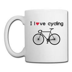 "White Color Coffee Mug ""I Love Cycling"""