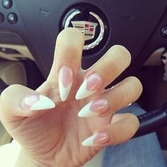 White pointed tip nails