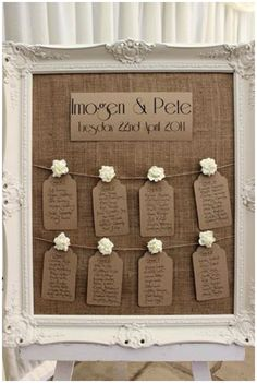 40+ Hessian Wedding Ideas - make your own wedding table plan, find a picture frame, remove the glass and use a piece of hessian fabric for the bacground. Then pin up luggage tags with the guests names and table numbers on #weddingideas #hessianwedding #rusticweddingideas