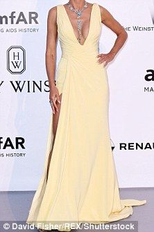 Heidi Klum shows off her fabulous figure in yellow at amfAR Cinema Against AIDS Gala | Daily Mail Online