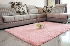 Fluffy Rugs Anti-Skid Shaggy Area Rug Dining Room Home Bedroom Carpet Floor Mat (Pink)