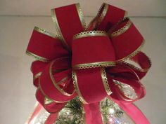 Large Red Velvet Gold trim Ribbon Christmas Tree Topper Bow by creativelycarole on Etsy
