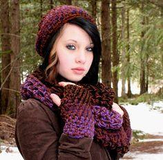 SET AIR Rasta Love Cowl Hood Vegan scarf slouch hat fingerless gloves Grape purple eggplant
