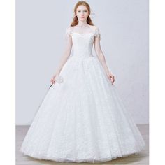 Ivory White Lace Off the Shoulder Bridal Wedding Ball Dress Gowns SKU-120005