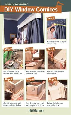 DIY: How To Build Window Cornices - build your own custom cornices for the price of store-bought. Window Cornices, Window Coverings, Window Treatments, Valances, Eames Design, Design Design, Pelmets, Home Repairs, Diy Home Improvement