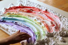 Want to give your play times a super sensory, colourful boost? Here's a fantastic collection of rainbow sensory play recipes. Sensory Play Recipes, Baby Sensory Play, Sensory Bins, Sensory Art, Sensory Rooms, Eyfs Activities, Color Activities, Stages Of Baby Development, Autumn Activities For Kids