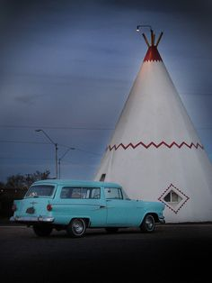 Vintage Car Parked at the Wigwam Motel in Holbrook, Arizona on Route 66