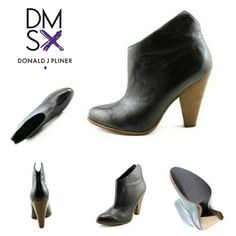 "🔥👢JUST REDUCED! Donald J Pliner Ivy Booties👢🔥 DMSX by Donald J Pliner Women's 'Ivy-16' Boots  Features & details Condition: Excellent Used Condition (Worn once inside) Upper: Buttery soft black leather Sole: Wood grain with black sole Heal: Stacked  Heal Height: 4"" tall Toe Shape: Almond STYLE: Pull-on  Width: Medium Sole width: 3"" wide 6 SIZE: 10/40 Details: Cute v cut accent on rear top rim of bootie. Front dons a center accent seam for extra detail. Heal is a contrasting dark brown…"