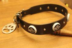 Custom Corona Extra Beer Bottle Caps Leather Dog Collar + Paw Print Opener leash #TSL