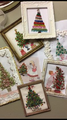 """Tiny vintage """"jewelry"""" trees. Framed dollhouse art using vintage graphics and lots of vintage French beads mixed with modern finds. The Little trees are first embroidered with my own hand dyed thread. Katie Arthur Dollhouselittles.etsy.com"""