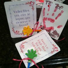 These are the handprint valentines my 8 year old designed. She asked me to pin the idea. :)
