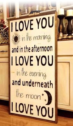 I Love You In The Morning Wood Framed Sign Distressed by WillowHillSigns on Etsy