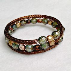 *Sold*  Ladies Viking knit chain bracelet cocoa and green by DonnaDStore, $30.00