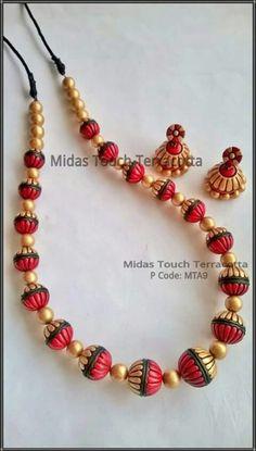 Terracotta Jewelry Set Fancy Jewellery, Funky Jewelry, Jewelry Sets, Handmade Jewelry, Women Jewelry, Jewelry Making, Terracotta Jewellery Making, Terracotta Jewellery Designs, Beaded Necklace Patterns