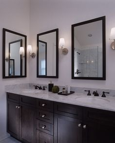 Feiss Lismore sconces help you get this look. Photo credit: Contemporary Bathroom by Los Angeles Interior Designers & Decorators MJ Lanphier 2 Mirrors In Bathroom, Bronze Bathroom, Bathroom Colors, Bathroom Fixtures, Master Bathroom, Bathroom Cabinets, Framed Mirrors, Bathroom Ideas, Bathrooms