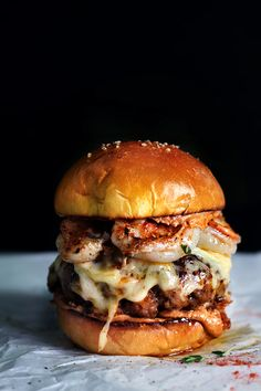 Chorizo Garlic Shrimp Burger