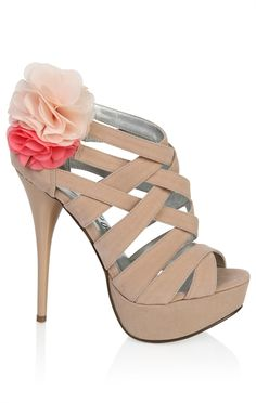 open toe high heel with flower detail
