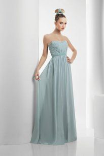 Column Chiffon elegantes trägerloses bodenlanges Brautjungfernkleid