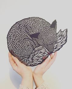 Lino Print: Do You Ever Think About What's Out There? - Linocut, Signed and Numbered Art print, Edition of 100 Kirigami, Papercut Art, Bandeau Crochet, Laser Cutter Projects, Laser Cutter Ideas, Fox Art, Bear Art, Oeuvre D'art, Laser Engraving