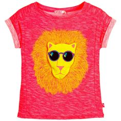 Girls neon pink t-shirt with white slub details by Billieblush. Made in soft cotton jersey, with turn-up sleeves, the padded cotton lion on the front is wearing sunglasses and has a printed mane.