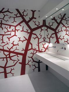 office restroom.  mural/wall idea.  Olivomare Restaurant / Pierluigi Piu