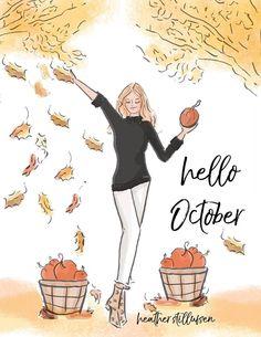 Hello October by Rose Hill Design Neuer Monat, October Quotes, Hello October, Hello Weekend, Hello Autumn, Autumn Fall, Autumn Leaves, Winter, Illustrations