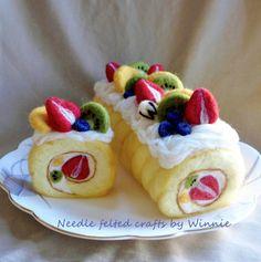 Needle felted fresh fruit roll cake Sold in by FunFeltByWinnie