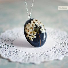 Pressed flower real bridal wreath blossom necklace - botanical resin jewelry - Nature lover gardener gift