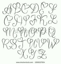 Hand drawn alphabet - calligraphy letters with heart curls - type . - Hand drawn alphabet – calligraphy letters with heart curls – typography and hand lettering - Tattoo Lettering Fonts, Hand Lettering Alphabet, Graffiti Lettering, Calligraphy Letters Alphabet, Tattoo Fonts Alphabet, Doodle Alphabet, Cool Fonts Alphabet, Doodle Lettering, Hand Drawn Lettering
