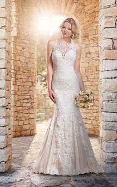 Essence of australia, lace, high neck, beaded wedding dress