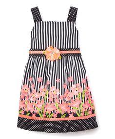 Neon Coral & Black Floral Stripe A-Line Dress - Toddler & Girls