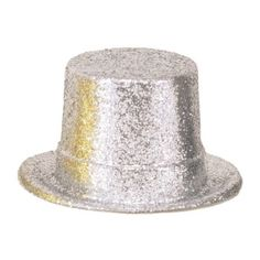 Check out Silver Glitter 5 Plastic Top Hat - Bargain Decorations and Supplies…