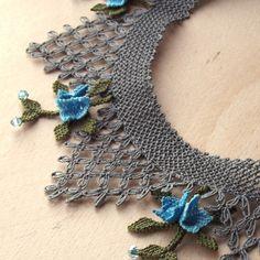 Turkish OYA Lace - Silk Necklace  - Lattice Plumeria - Blue by DaisyCappadocia on Etsy