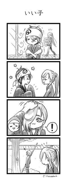 【刀剣乱舞】いい子いい子されて照れるにっかり青江【漫画】