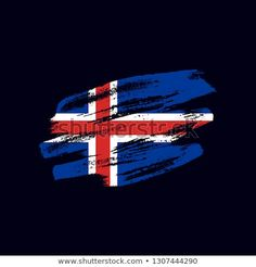 Vector brush painted flag of Iceland isolated on dark blue background. Frayed and scratched the national symbol of the European country Iceland Flag, Vector Brush, National Symbols, Dark Blue Background, Flag Vector, Morale Patch, Blue Backgrounds, New Pictures, Royalty Free Photos