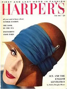 British Harper's Bazaar May Eyeliner & red lips Vintage Hat Boxes, Vintage Hats, Vintage Vogue, Retro Vintage, Fashion Magazines, Vintage Magazines, Retro Fashion, Vintage Fashion, She's A Lady