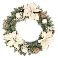 "24"" Holiday Poinsettia Burlap Wreath"