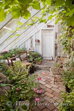 greenhouse. I love the simplicity of the design of adding a triangular slanted wall to the side of an existing house or garage.