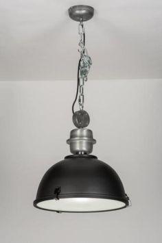 """Geschikt voor LED Trendy industrielamp uitgevoerd in de kleur antraciet grijs!  Deze hanglamp heeft een industrieel karakter. Een lamp gemaakt met """"raw"""" stalen elementen in combinatie met de kleur antraciet grijs. Voor interieur woonkamer , keuken , slaapkamer of bedrijf . Home interior lights / online shop : click on this link www.rietveldlicht.nl"""