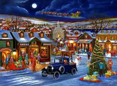 Villagers are still shopping while Santa and his reindeer are already soaring through the sky to parts unknown!