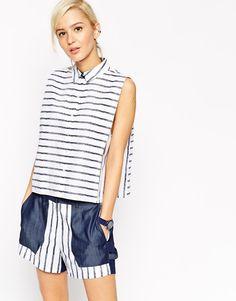 ASOS+WHITE+Crayon+Stripe+Sleeveless+Shirt